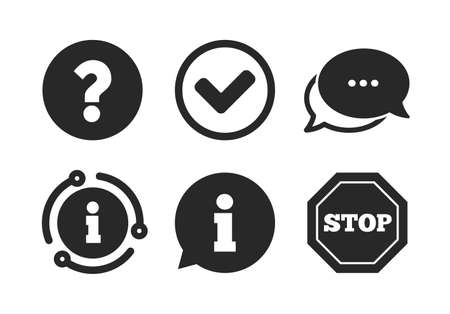 Illustration pour Stop prohibition and question FAQ mark signs. Chat, info sign. Information icons. Approved check mark symbol. Classic style speech bubble icon. Vector - image libre de droit