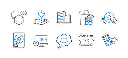 Illustration pour Set of Business icons, such as Journey path, Smile, Buildings, Hold heart, Hdd, Business targeting, Augmented reality, Shopping bags, Seo, Pay money line icons. Project process, Comic chat. Vector - image libre de droit