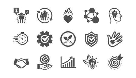 Illustration pour Core values icons. Integrity, Target purpose and Strategy. Trust handshake, social responsibility, commitment goal icons. Classic set. Quality set. Vector - image libre de droit