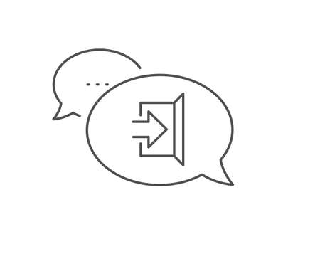 Illustration for Exit line icon. Chat bubble design. Open door sign. Entrance symbol with arrow. Outline concept. Thin line exit icon. Vector - Royalty Free Image