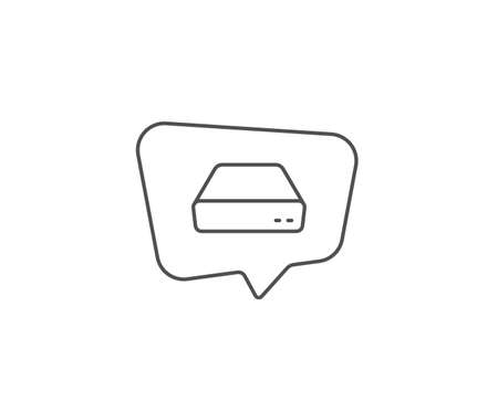 Illustrazione per Mini pc line icon. Chat bubble design. Small computer device sign. Outline concept. Thin line mini pc icon. Vector - Immagini Royalty Free