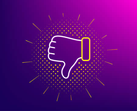 Illustrazione per Dislike hand line icon. Halftone pattern. Thumbs down finger sign. Gesture symbol. Gradient background. Dislike hand line icon. Yellow halftone pattern. Vector - Immagini Royalty Free