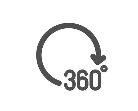 Illustration for VR simulation sign. 360 degrees icon. Panoramic view symbol. Classic flat style. Simple 360 degrees icon. Vector - Royalty Free Image