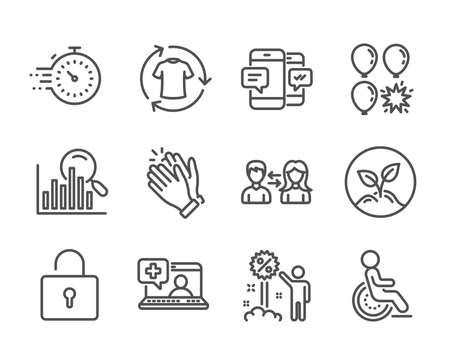 Illustration pour Set of Business icons, such as Disability, Medical help, Clapping hands, Startup, Timer, Search, Change clothes, Balloon dart, People communication, Smartphone sms, Lock, Discount. Vector - image libre de droit