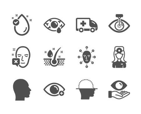 Illustration pour Set of Medical icons, such as Vitamin e, Health eye, Face biometrics, Face declined, Ð¡onjunctivitis eye, Head, Serum oil, Farsightedness, Ambulance emergency, Oculist doctor. Vitamin e icon. Vector - image libre de droit