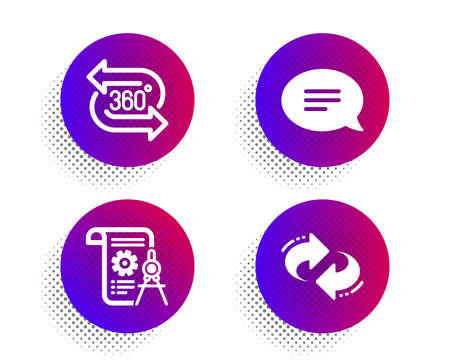 Illustration pour Chat, Divider document and 360 degree icons simple set. Halftone dots button. Refresh sign. Speech bubble, Report file, Virtual reality. Rotation. Business set. Classic flat chat icon. Vector - image libre de droit