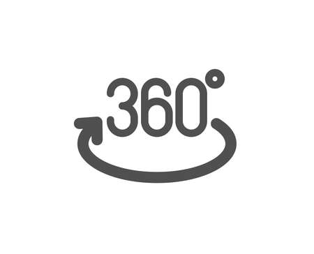 Illustration for Full rotation sign. 360 degree icon. VR technology simulation symbol. Classic flat style. Simple full rotation icon. Vector - Royalty Free Image
