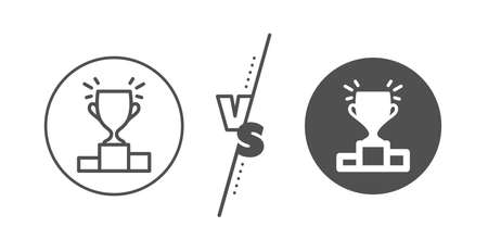 Illustration for Sports Trophy symbol. Versus concept. Winner podium line icon. Championship achievement sign. Line vs classic winner podium icon. Vector - Royalty Free Image