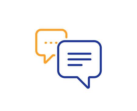 Illustration pour Chat comment sign. Dots message line icon. Speech bubble symbol. Colorful outline concept. Blue and orange thin line dots message icon. Vector - image libre de droit