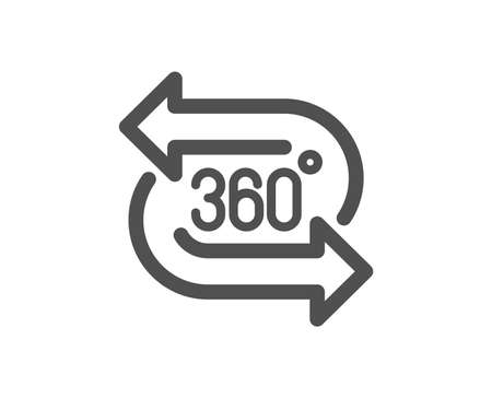 Illustration for VR technology simulation sign. 360 degree icon. Panoramic view symbol. Classic flat style. Simple 360 degree icon. Vector - Royalty Free Image