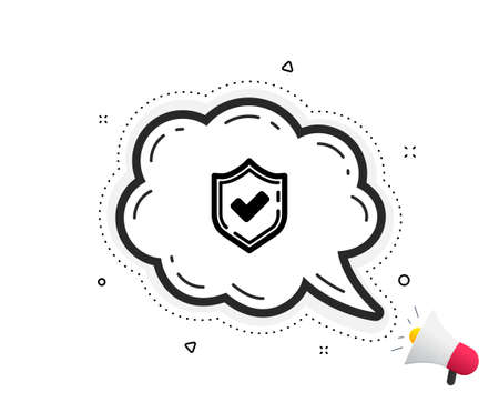 Illustration pour Check mark icon. Quote speech bubble. Accepted or Approve sign. Tick shield symbol. Quotation marks. Classic confirmed icon. Vector - image libre de droit