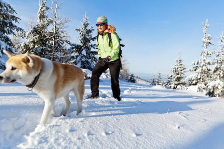 Woman hiking in winter mountains with akita dog