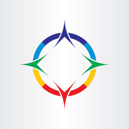 Ilustración de stylized four compass direction design icon navigational - Imagen libre de derechos