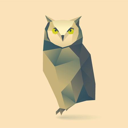 polygonal illustration of owl