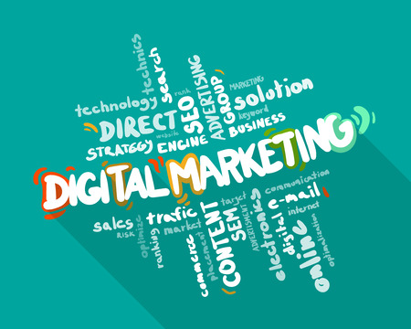 Ilustración de Digital Marketing word cloud, business concept - Imagen libre de derechos