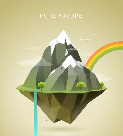 Illustration for polygonal illustration of mountains with snow on the top clouds trees waterfall and rainbow on island - Royalty Free Image