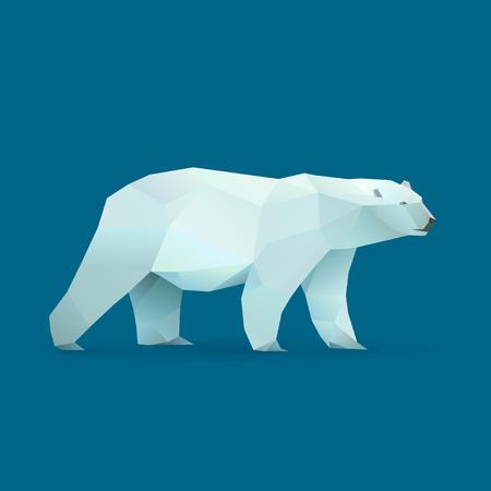 Illustration pour polygonal illustration of polar bear - image libre de droit
