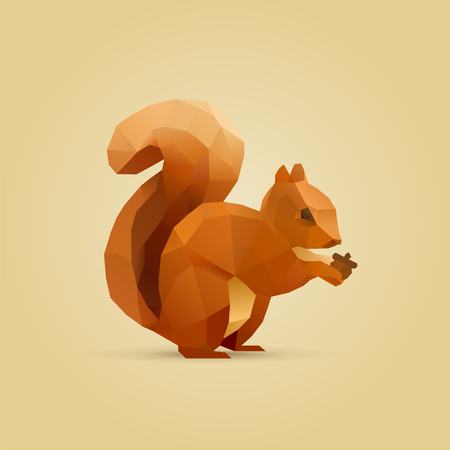 Illustration pour polygonal illustration of squirrel eating nut isolated - image libre de droit