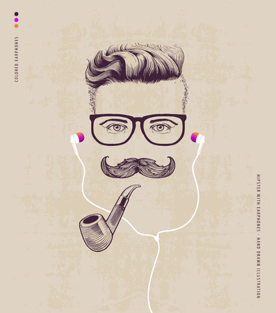 Ilustración de hipster with smoking pipe and earphones - Imagen libre de derechos