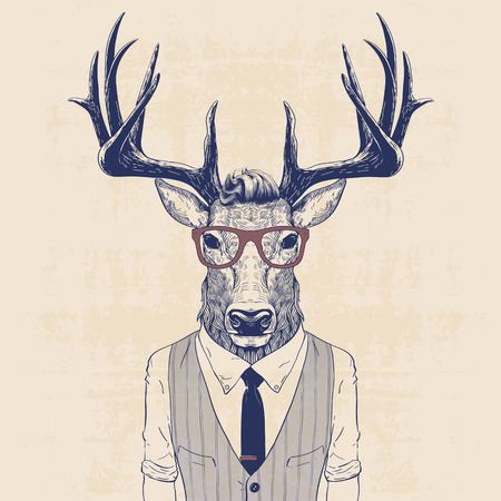 Ilustración de illustration of deer dressed up like business man in vest and tie - Imagen libre de derechos
