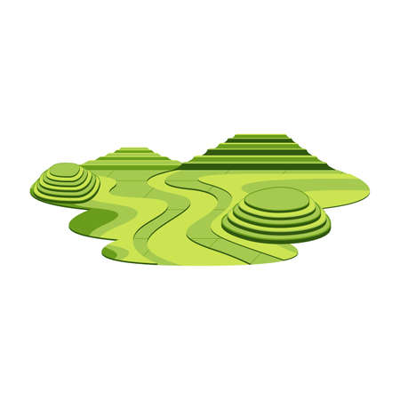 Illustration for Rice Terrace Mountain and Hill Asia Landscape Vector - Royalty Free Image