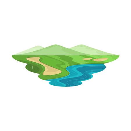 Ilustración de Golf Club Course Hill and Lake Landscape Vector - Imagen libre de derechos