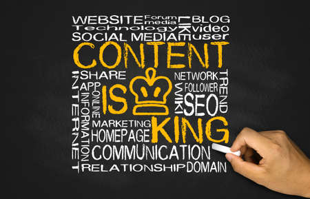 Photo for content is king concept on blackboard - Royalty Free Image