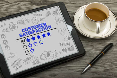Photo for customer satisfaction concept on touch screen - Royalty Free Image