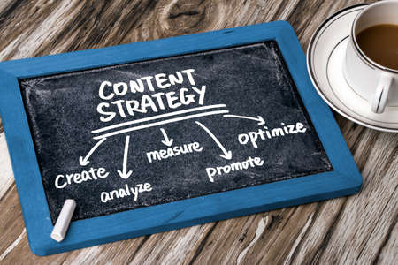 Photo for content strategy concept diagram hand drawing on blackboard - Royalty Free Image