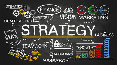 Photo pour strategy concept hand drawn on blackboard - image libre de droit