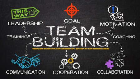 Foto de team building concept drawn on blackboard - Imagen libre de derechos