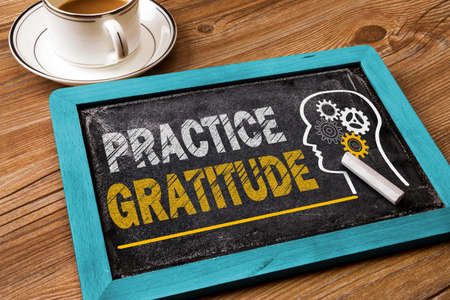 Photo for practice gratitude concept on chalkboard - Royalty Free Image