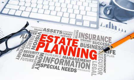 Foto de estate planning word cloud on office scene - Imagen libre de derechos