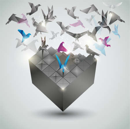 Photo pour Metamorphosis, Origami abstract vector illustration.  - image libre de droit