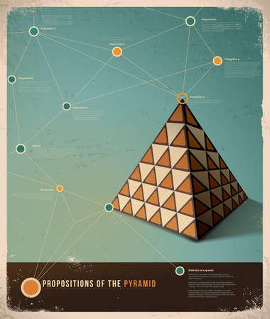Foto de Retro Infographic template design; Propositions of the Pyramid,  - Imagen libre de derechos