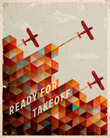 Illustration pour Retro Geometric Pattern with clouds and airplanes - image libre de droit