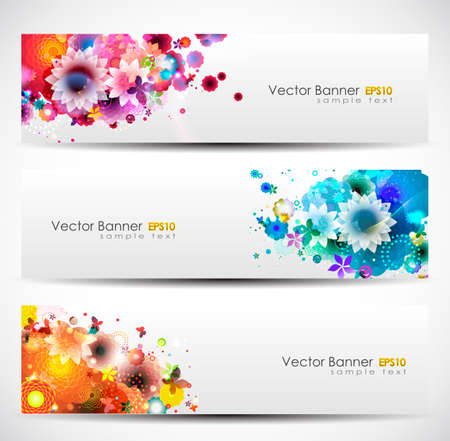 Illustration pour Spring Floral Banner Header Set - image libre de droit