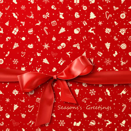 Ilustración de Red Bow over red Christmas wrapping paper icons seamless pattern - Imagen libre de derechos