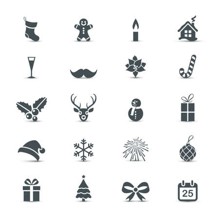 Illustration for Holiday Icons set (Christmas and New Year) - Royalty Free Image