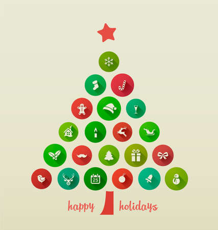 Illustration pour Holiday Card, Christmas tree from flat Icons - image libre de droit