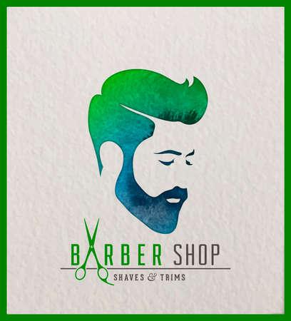 Ilustración de Creative watercolor logotype of man's head. Logo design for hair and barber salon. - Imagen libre de derechos