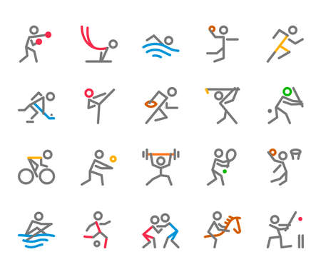 Ilustración de Sport Icons, Monoline, human figure concept, The icons were created on a 32x32 pixel aligned, perfect grid providing a clean and crisp appearance. Adjustable stroke weight. - Imagen libre de derechos