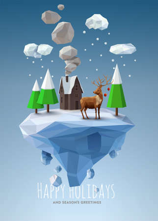 Illustration for Geometric, low poly winter landscape - Royalty Free Image