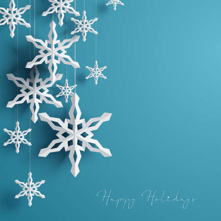 Illustration for Paper 3d snowflakes background Vector illustration. - Royalty Free Image