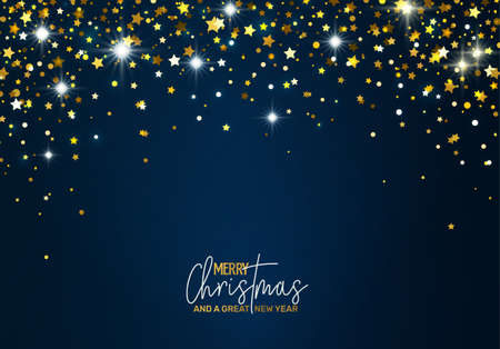Ilustración de Holiday Greeting Card with golden stars - Imagen libre de derechos