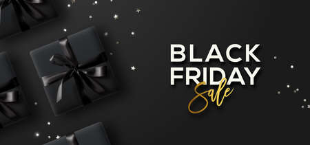 Illustration pour Black Friday Sale. Black Friday Horizontal Banner. Gift boxes and confetti  over dark background. - image libre de droit