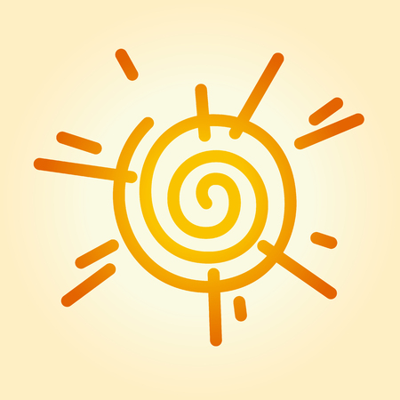 Ilustración de Vector illustration of a stylized sun. Can be easily colored and used in your design. - Imagen libre de derechos