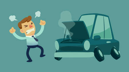 Illustration pour businessman get frustrated because his car broken down on the way to work - image libre de droit