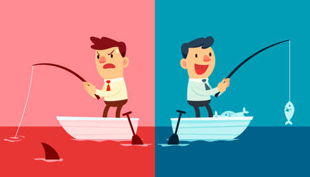 Illustration for Illustration of two businessmen. One fishing in red ocean and the other in blue ocean - Royalty Free Image