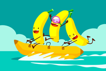 Ilustración de Illustration of tree bananas riding banana boat in the sea - Imagen libre de derechos
